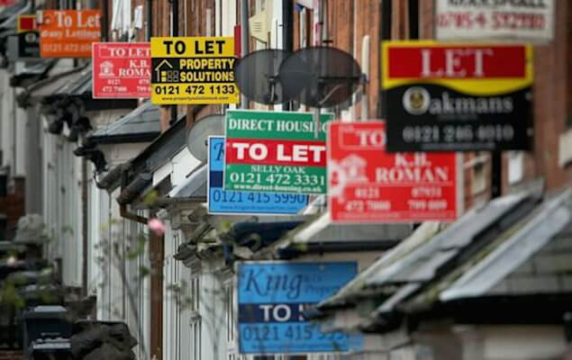 to let signs on terraced houses